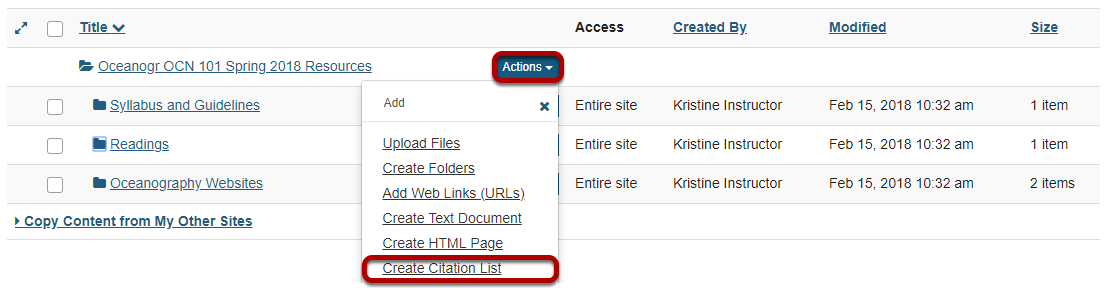 Method 2: Manually create citation list.