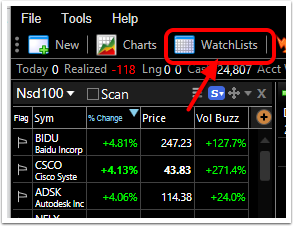 1. Click the WatchList icon.