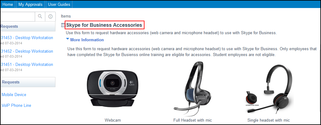 Skype for Business Accessories button