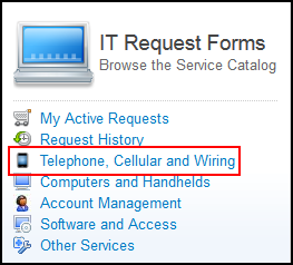 IT Request Forms menu with Telephone, Cellular, and Wiring option highlighted