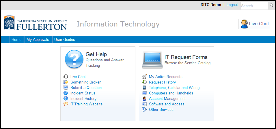 Service Desk homepage