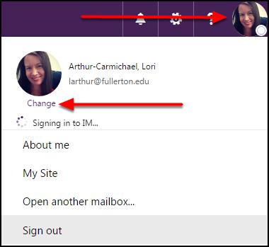 Outlook on the Web Profile menu