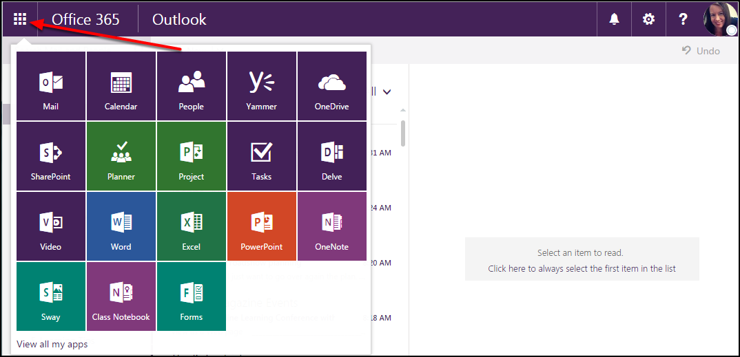 Office apps menu expanded to show apps