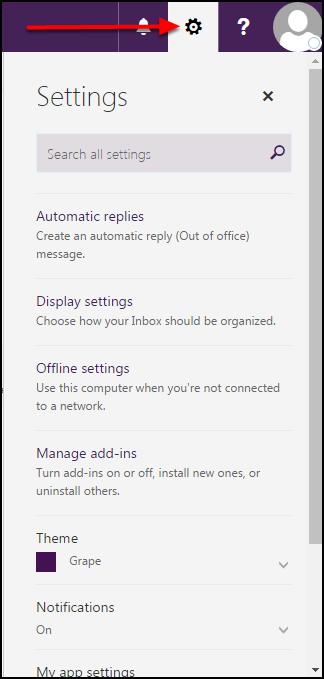 Outlook on the Web Settings menu
