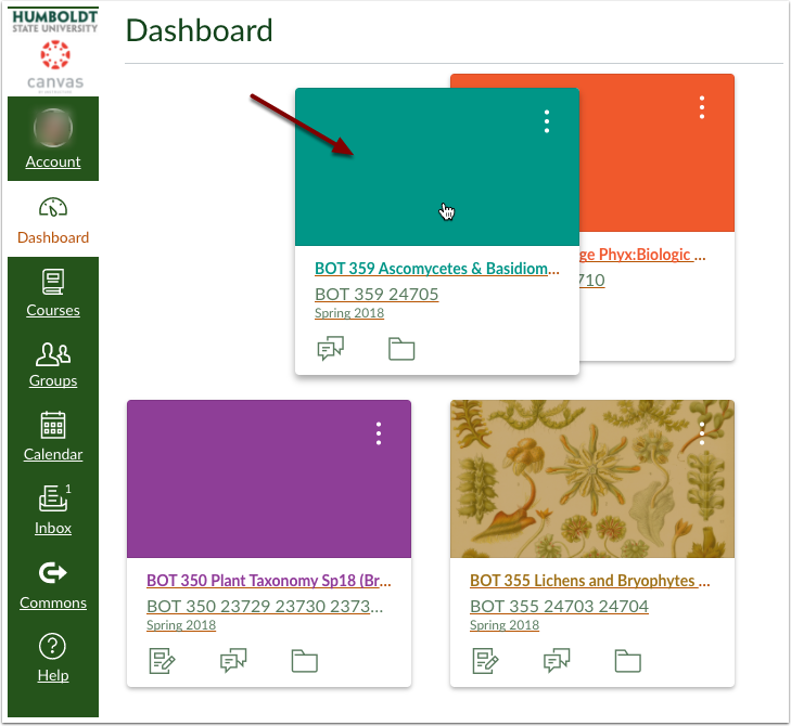 Canvas Dashboard while dragging course card