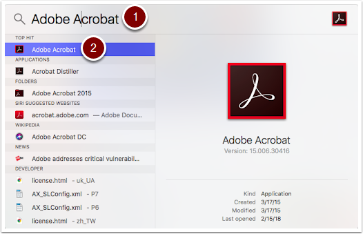 "Mac OSX searchbar with a search for ""adobe acrobat"""