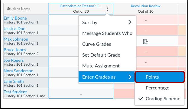 Select Grade Entry