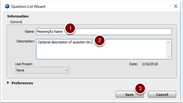 Turning Point Question List Wizard - Information screen