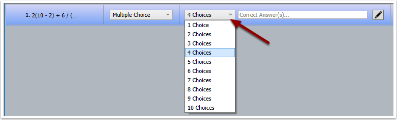 Turning Point Question List Wizard - choices dropdown
