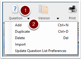 Turning Point Question List Wizard - add question button
