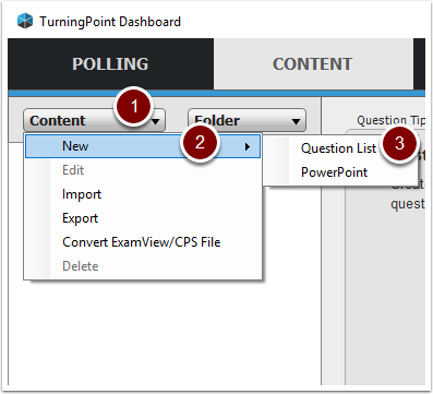 Turning Point Content Tab showing New Question List button