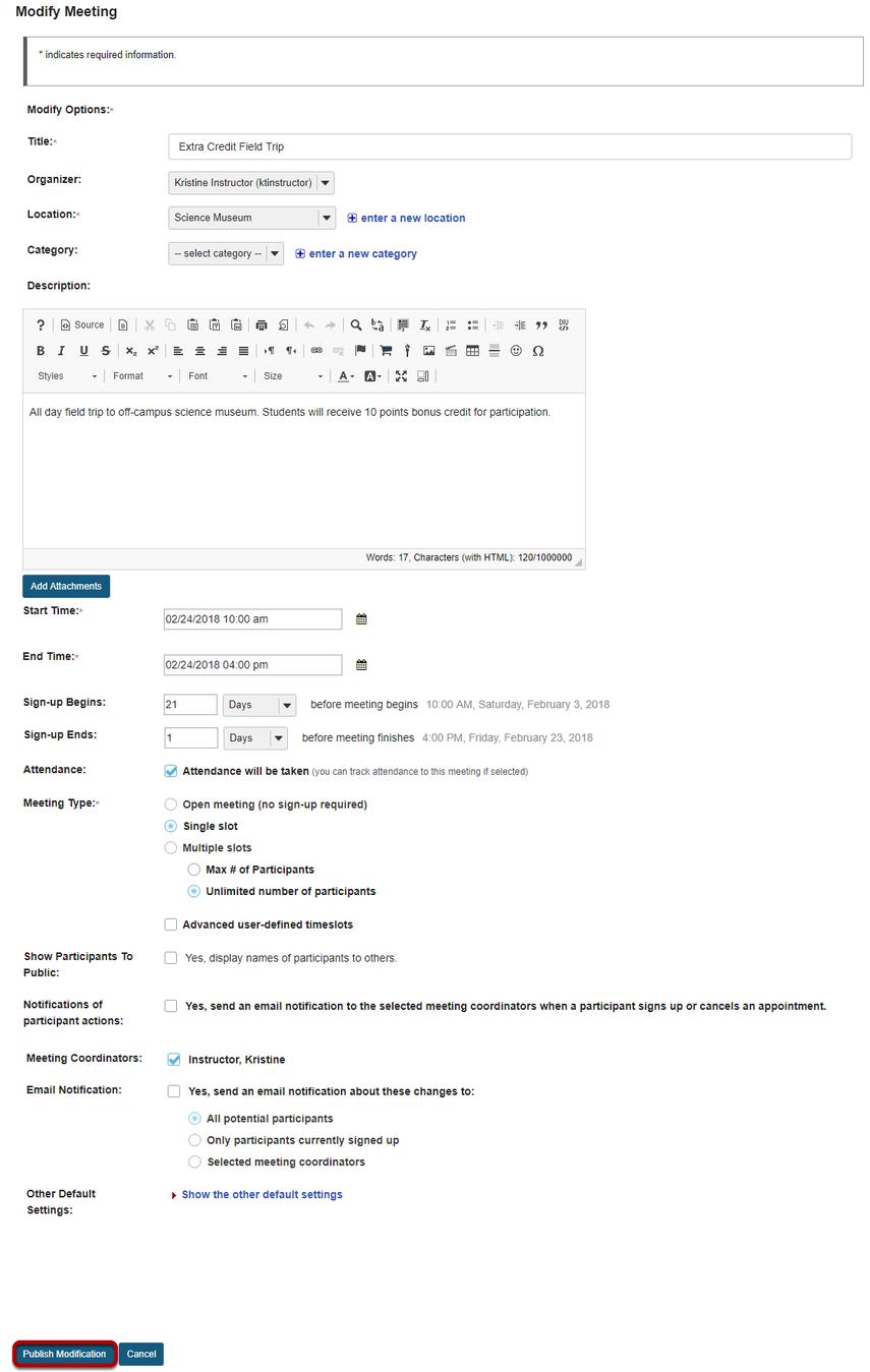 Edit meeting settings and publish.