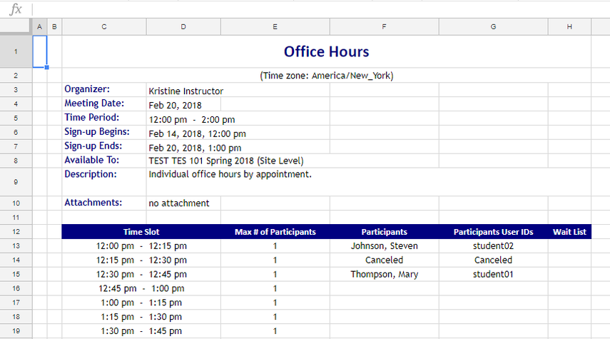 View information in Excel.