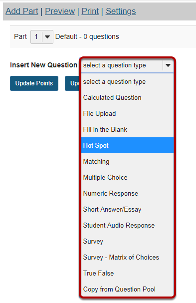 Select Hot Spot from drop-down menu.