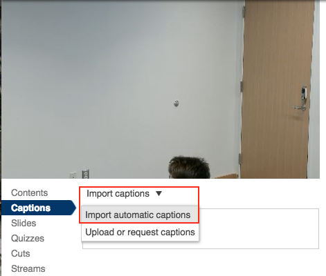 Select import captions and import automatic captions