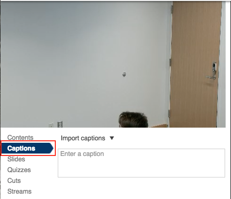captions option selected in menu