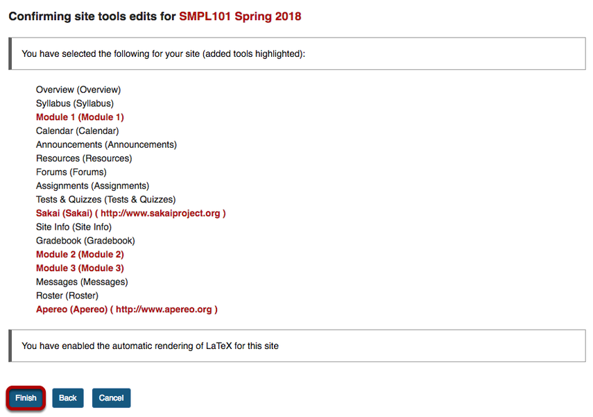 Confirm tool selection screen with tools added highlighted in red.
