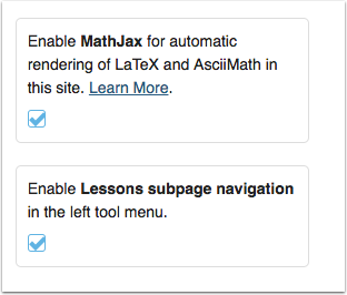 Dialog boxes with checkboxes to enable MathJax and Lesson subpage navigation.