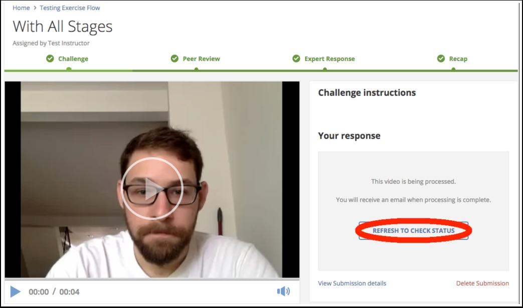 Click Refresh to Check Status