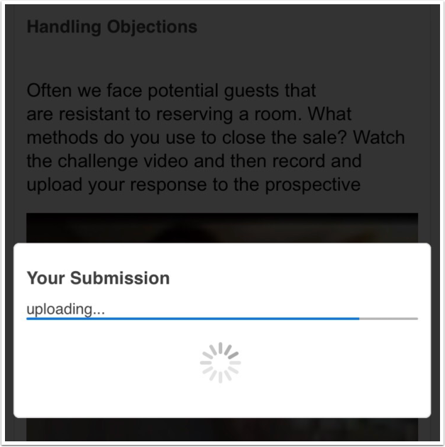 Uploading submission screen