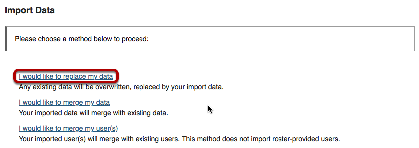 "Import data screen with ""I would like to replace my data"" link highlighted."