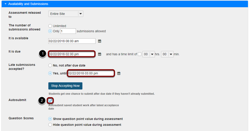 If the latest acceptance date is in the past, verify dates and select Autosubmit.