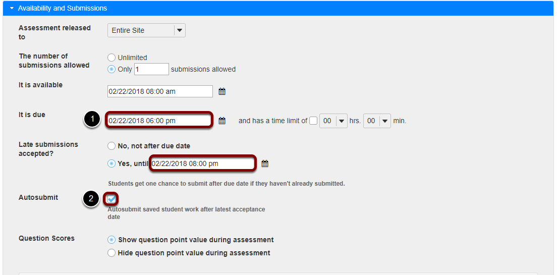 Verify dates and select the Autosubmit option.