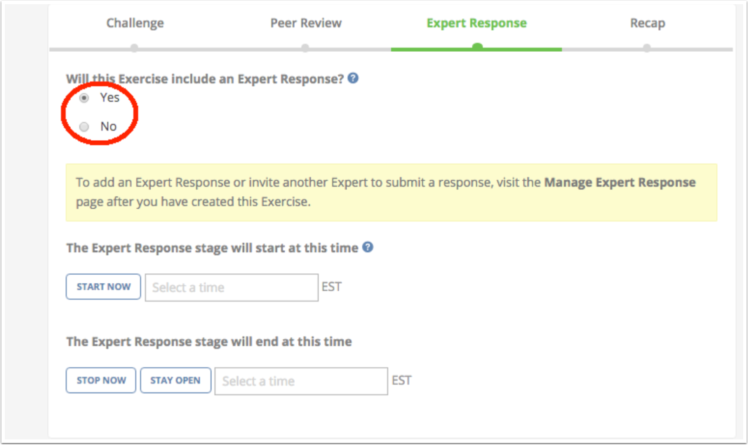 Click Expert Response option