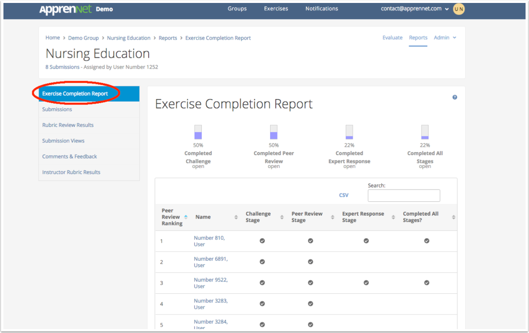 Click Exercise Completion Report