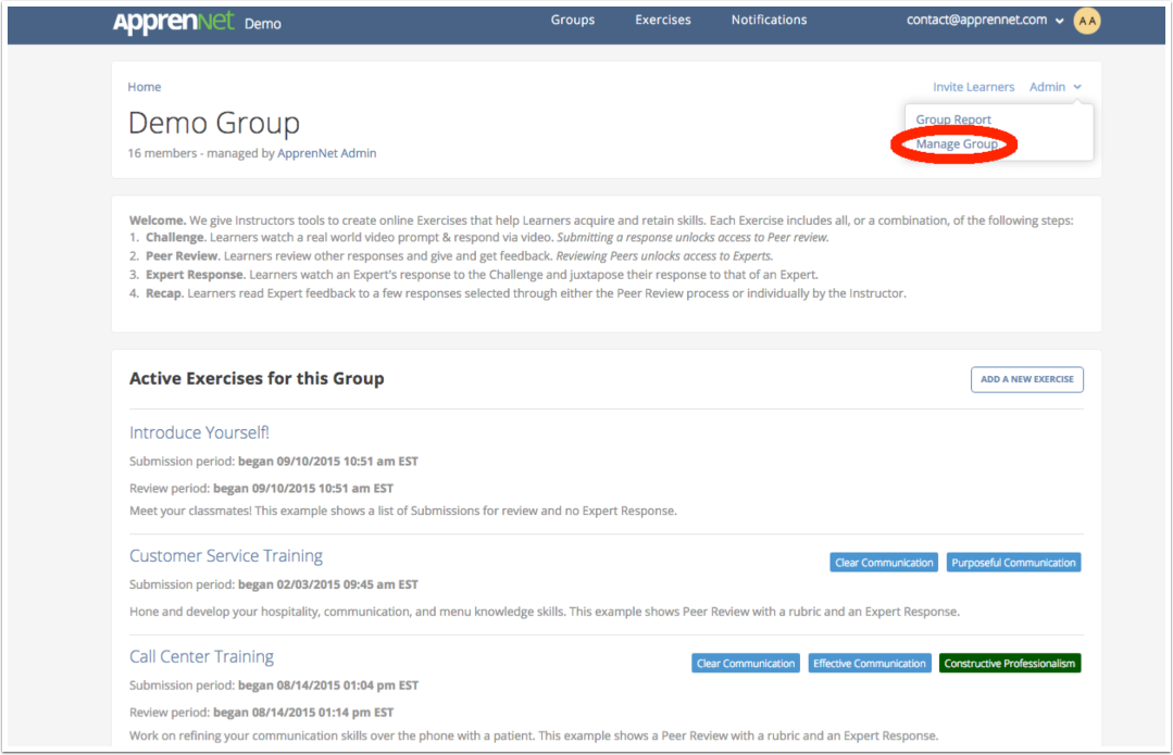 Click Manage Group link