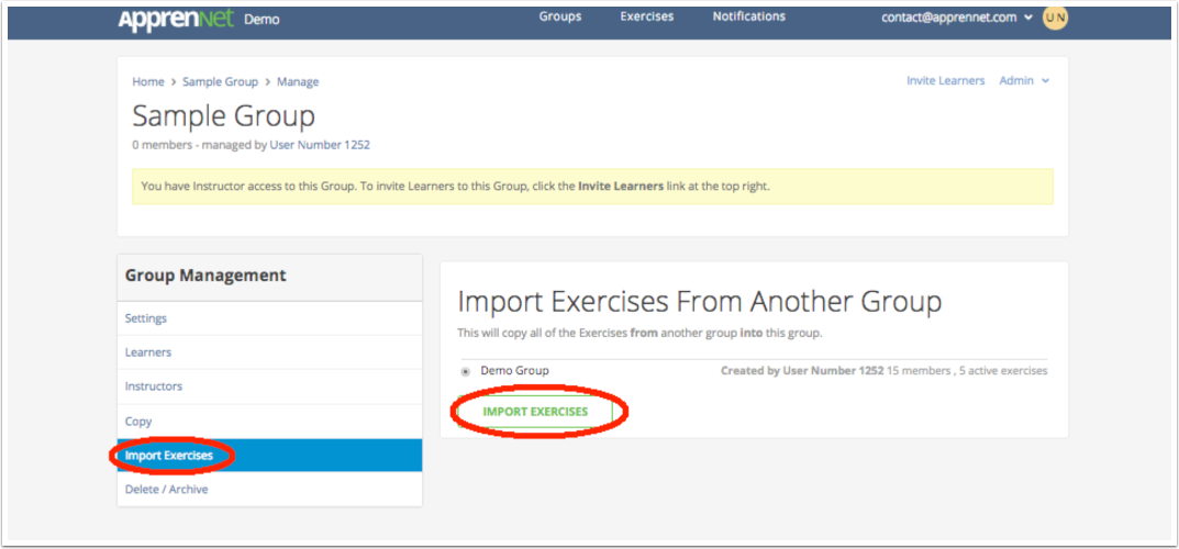Click Import Exercises link