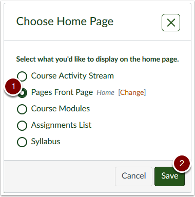 Canvas Choose Home Page popout
