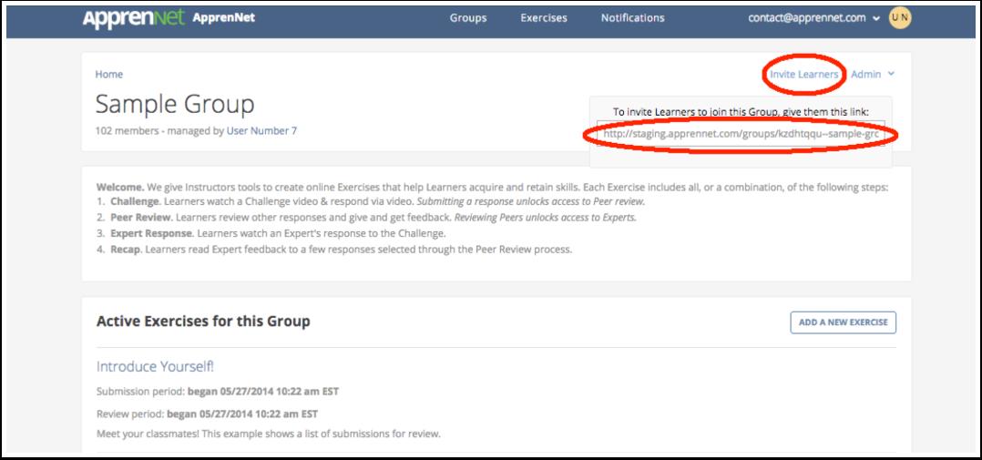 Group invitation link