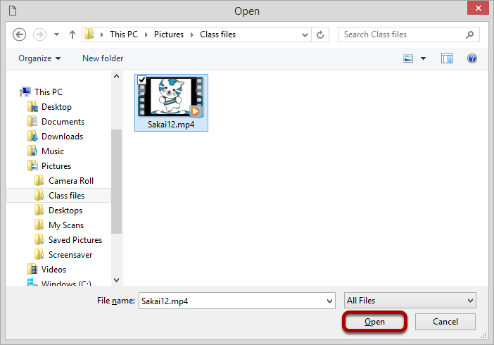 Locate and select the mp4 video file that you want to embed in the text box.