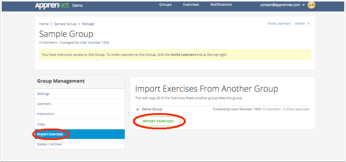 Click Import Exercises button
