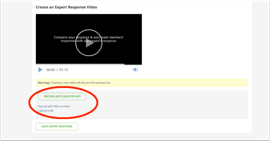 Click Record with Desktop App button