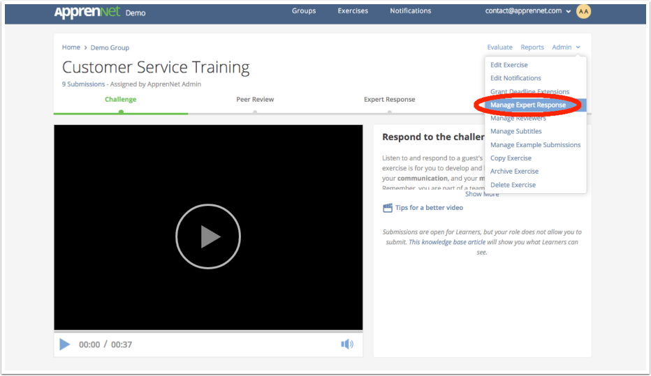 Click Manage Expert Response link
