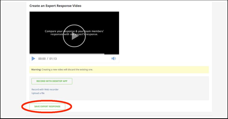 Click Save Expert Response button