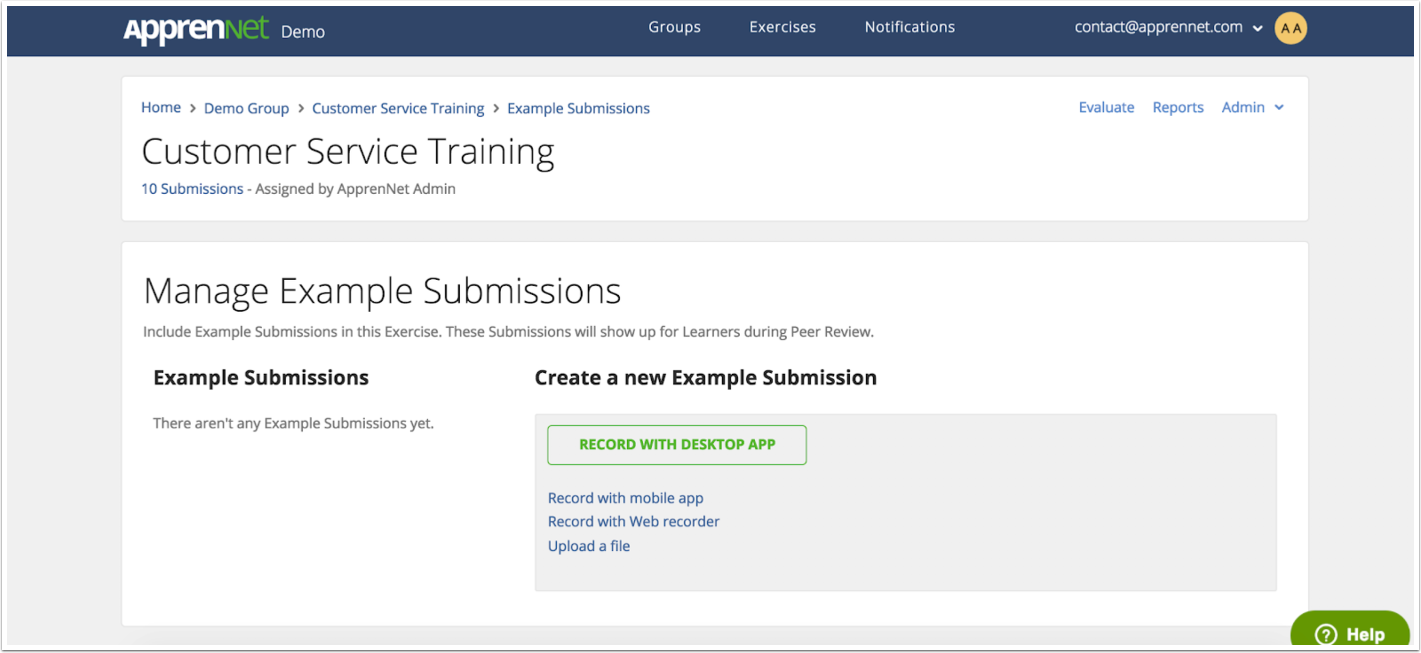View Manage Example Submissions page