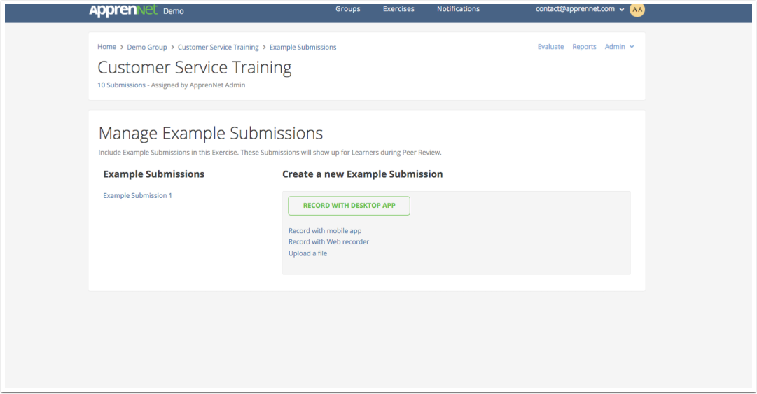 Manage Example Submissions page