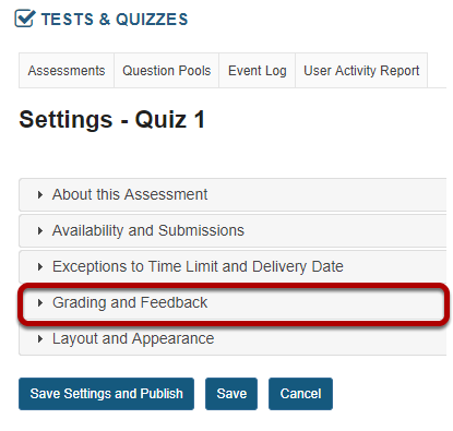 In the assessment Settings page, click Availability and Submissions.