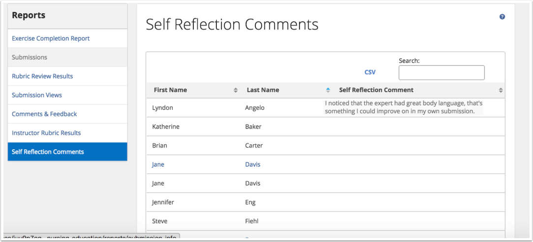 View Self Reflection Comments