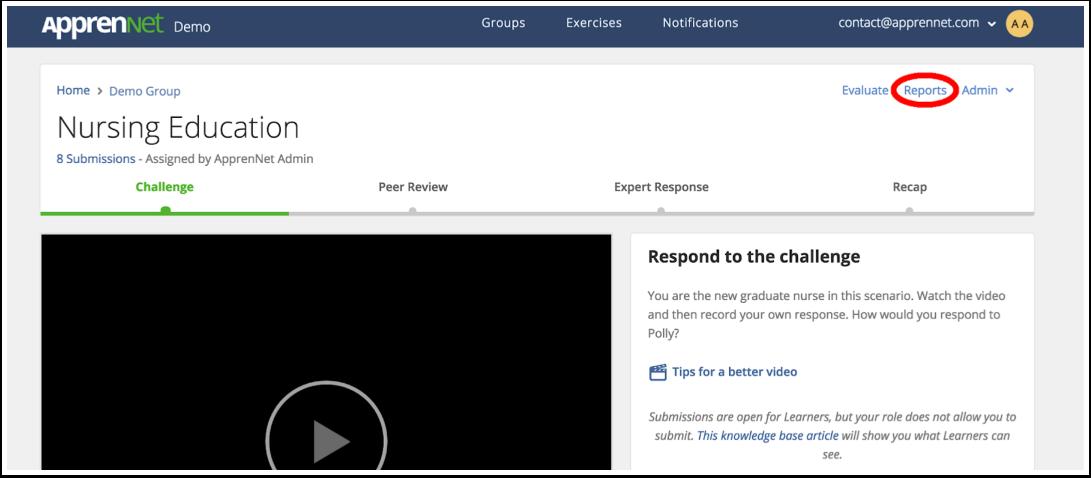 Click Reports link