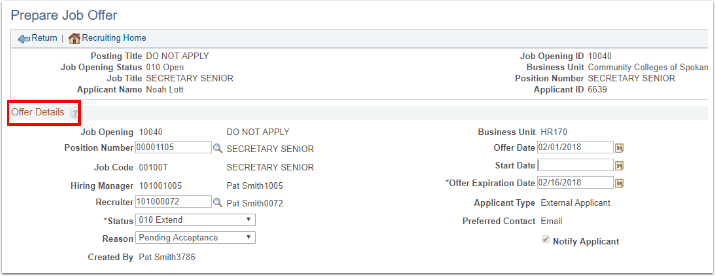 Prepare Job Offer page