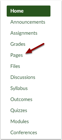 Canvas Course Navigation bar showing Pages
