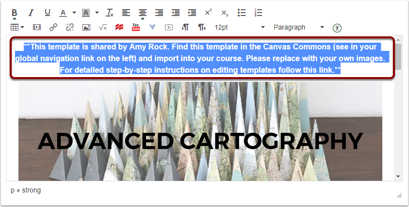 Canvas Front Page Template Information to delete