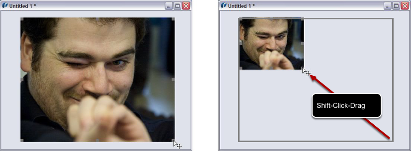 Image resizing with the pointer tool