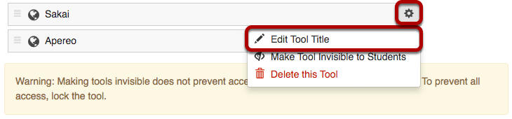 Rename a tool screen with gear icon and Edit Tool Title highlighted.