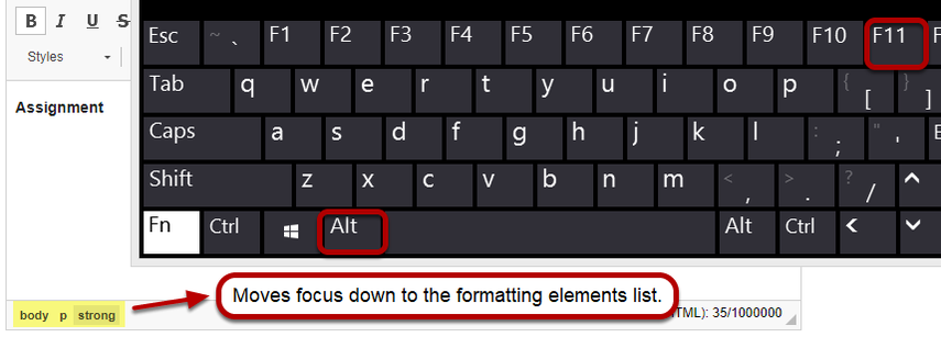 Navigate away from the editing text box to the list of formatting elements
