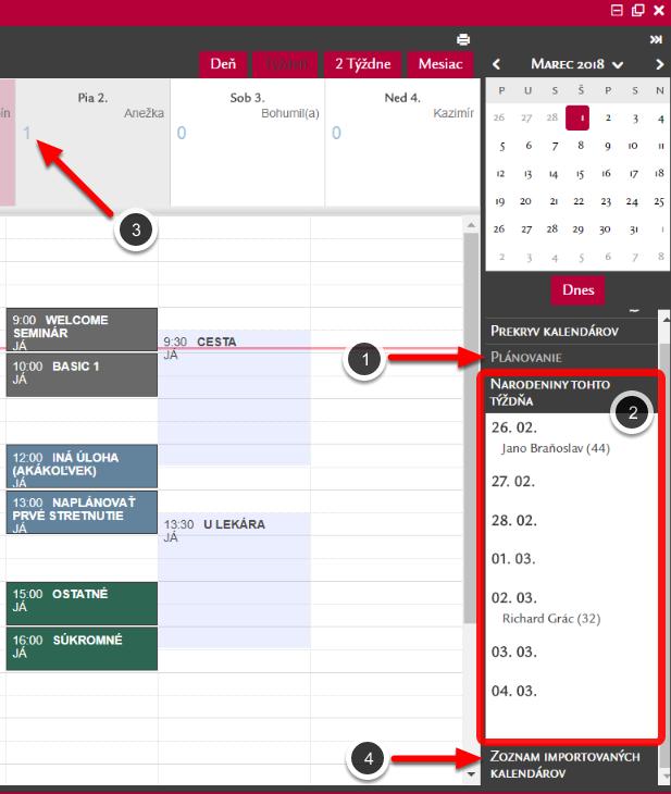 Plánovanie a Importované kalendáre